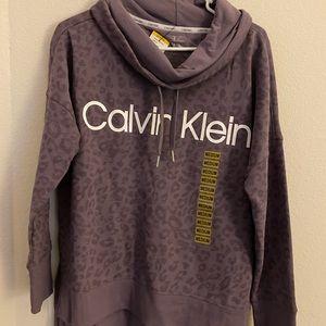 NWT Calvin Klein purple cheetah cowl neck